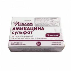 Купить Амикацин (амикацина сульфат) раствор для инъекций 250мг/мл 4мл №1 в Новосибирске